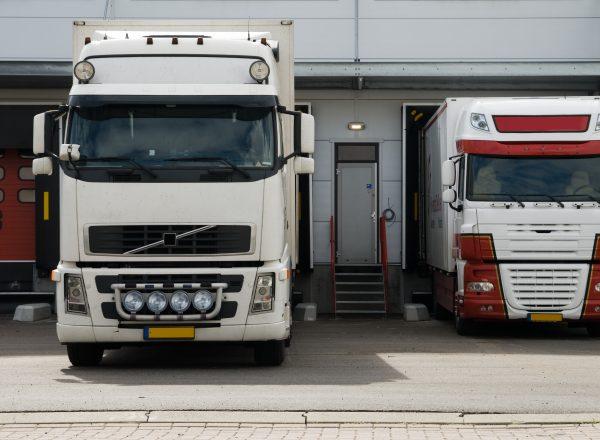 big trucks at a loading dock