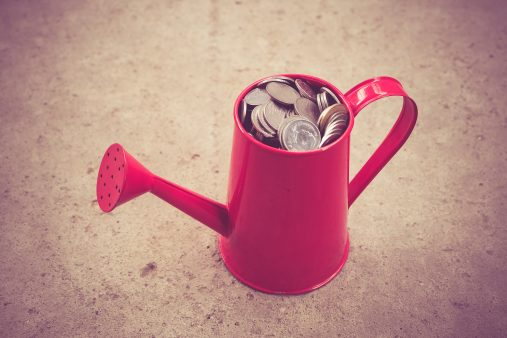 coin in red Watering-Can with filter effect retro vintage style